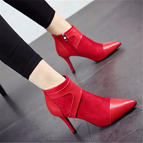 FLYRCX pelle d stivaletti alto scarpe cucitura scamosciata autunno scarpe in europea in ladies' inverno tacco e e alto party tacco Temperamento di calzature zOwrBpqzn