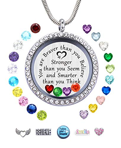 JOLIN You are Braver Than You Believe Necklace DIY Charms Floating Locket Pendant,Graduation Gift Best Friend Encouragement Gifts