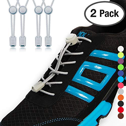 Stout Gears No Tie Shoelaces with Lock System | Elastic Shoe Laces for Sneakers (2 Packs, Gray-Gray)