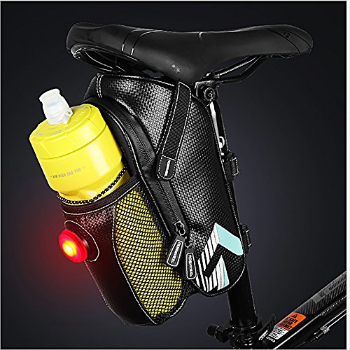 Bike Saddle Bag, MTB Rear Light Rear Seat Bag - Road Bike Waterproof Cushion Bag - Polyester Saddle Bag with Pocket Water Bottle - Bicycle Seat Back Pocket Repair Tool Pocket Bag by Roswheel (Image #9)