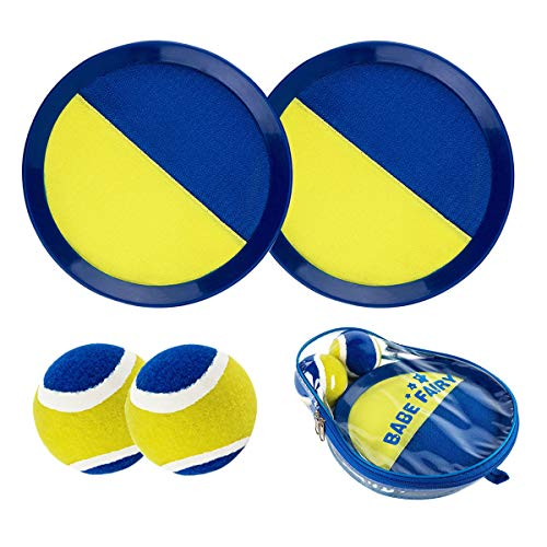 Babe Fairy Paddle Toss and Catch Ball Set-8 Inch Disc Paddle Catch Games Toy for Kids/Adult(2 Paddles,2Balls and 1 Storage Bag(Blue)