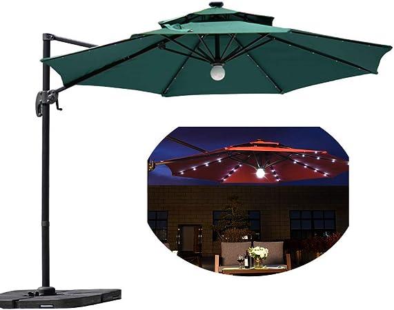 Parasol YGR Patio LED Manivela De Aluminio De 8 Costillas para Sombrilla De Jardín Impermeable con Sombrilla De Jardín Solar Alimentado con 32 Luces LED: Amazon.es: Hogar