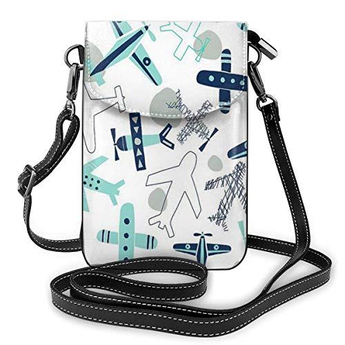 Hdadwy mobiltelefon crossbody väska flygplan kvinnor PU-läder mode handväska med justerbar rem
