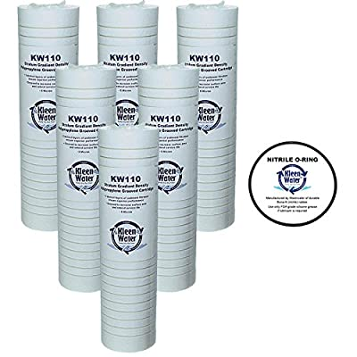 WHKF-GD05 Whirlpool, 3M Aqua-Pure AP110 Compatible Filter, KleenWater KW110 Grooved 5 Micron Water Filter Cartridges Set of 6, O-ring for WHKF-DWHV, WHKF-DWH, WHKF-DUF Qty1