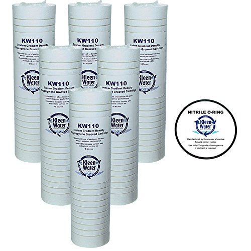 WHKF-GD05 Whirlpool, 3M Aqua-Pure AP110 Compatible Filter, KleenWater KW110 Grooved 5 Micron Hose Filter Cartridges Set of 6, O-ring for WHKF-DWHV, WHKF-DWH, WHKF-DUF Qty1