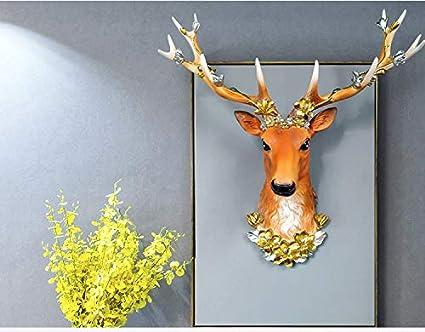 ZEYAUP La Statue Grande T/ête De Cerf Statue D/écoration De La Maison Accessoires 3D Abstraite Sculpture Mur Accrocher D/écor Statues Elk Statues/// Blanc