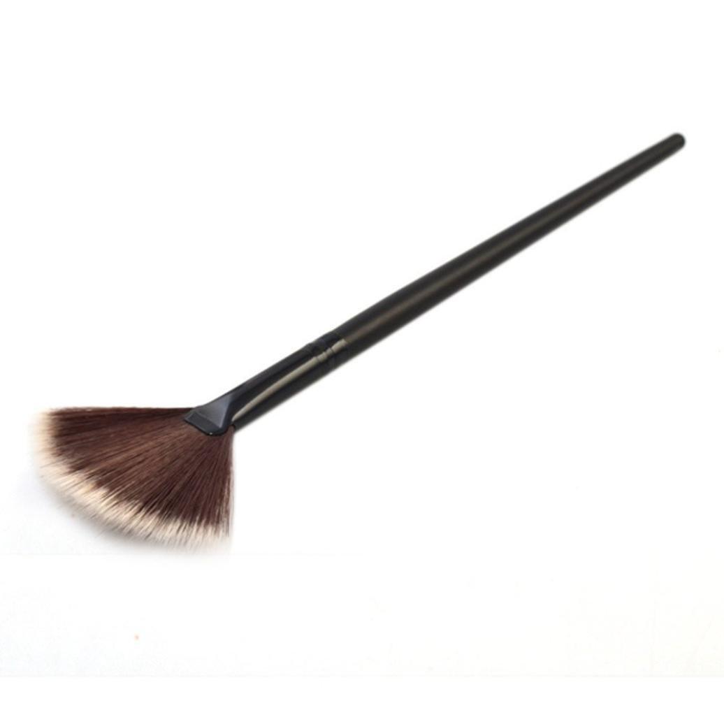Amazon.com  1Pc Fan Brush Portable Slim Professional Makeup Brush for Women  (Black)  Beauty 4d5db2caf