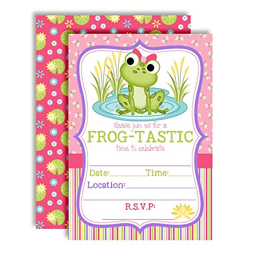 Little Frog Birthday Party Invitations for Girls,20 5