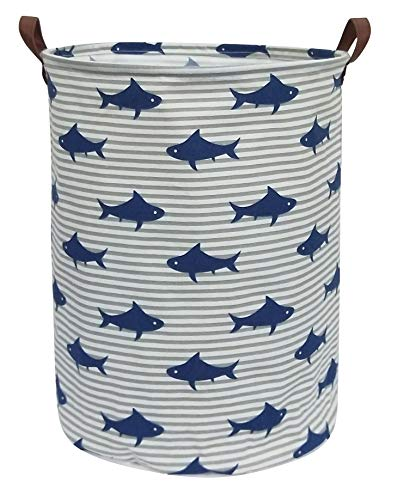 CLOCOR Large Storage Bin-Cotton Storage Basket-Round Gift Basket with Handles for Toys,Laundry,Baby Nursery (Shark) -
