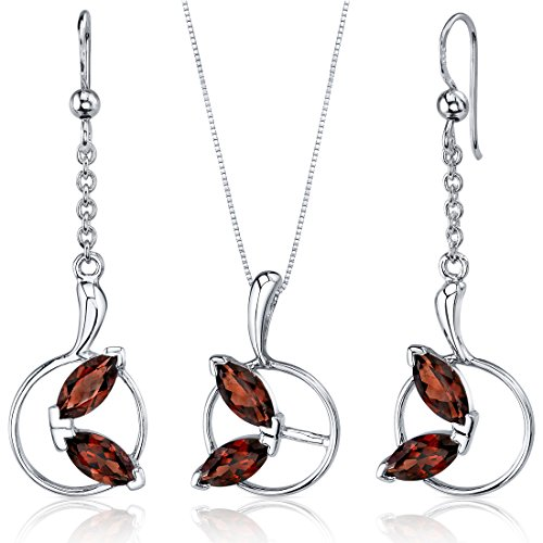 Ornate Circle Design 4.50 carats Sterling Silver with Rhodium Nickel Finish Garnet Pendant Earrings Set -