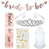 Bachelorette Party Decorations Kit,Pink Rose Gold Bridal Shower Decorations Party Supplies | Veil + Rhinestone Tiara With Comb, Bride To Be Sash, Bride To Be Banner, 28 Bride tribe Tattoos