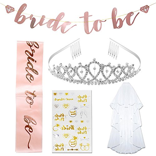 Bachelorette Party Decorations Kit,Pink Rose Gold Bridal Shower Decorations Party Supplies | Veil + Rhinestone Tiara With Comb, Bride To Be Sash, Bride To Be Banner, 28 Bride tribe Tattoos by Sunba Youth