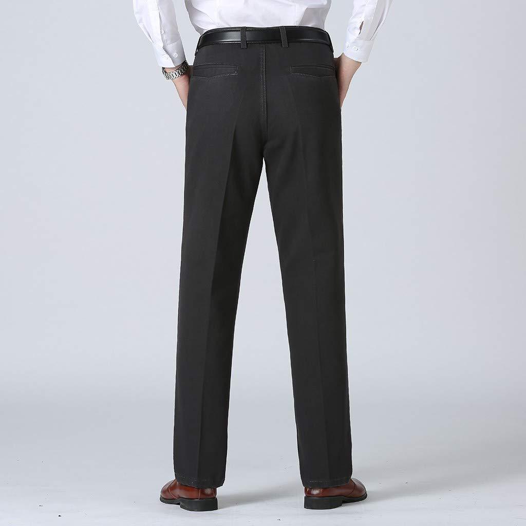 Landscap/_Men/_Pants Business Plain Color Casual Trousers Large Comfortable Pant Classic-Fit Flat-Front Dress Pants
