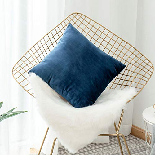 HOME BRILLIANT Velvet Euro Sham Large Throw Pillows Cushion Cover 26x26 Pillow Cover for Floor Bedroom Living Room, 66 x 66cm, Dark Blue ()