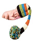 JISEN Newborn Baby Photography Props Long Tail Hat Handmade Crochet Knitted Unisex Baby Cap Outfit Photo Props