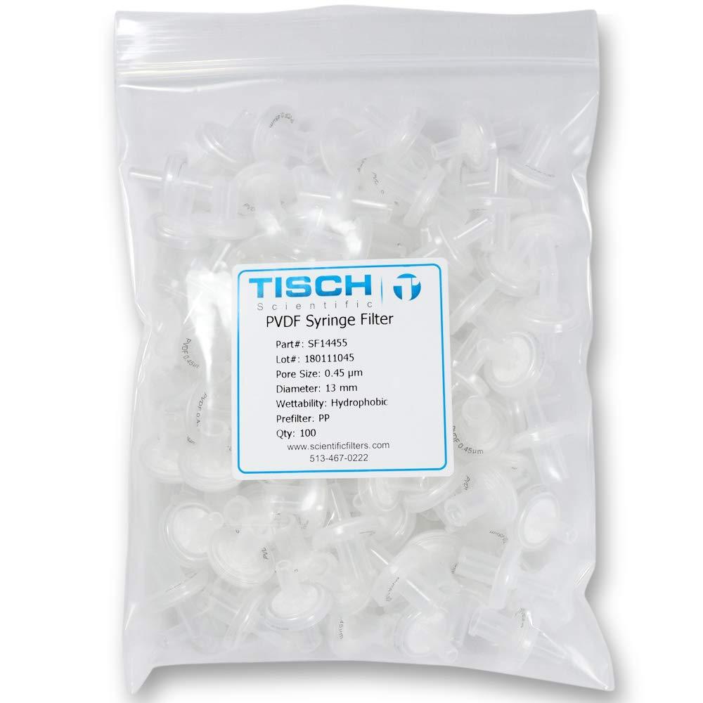 TISCH SF14455 Syringe Filter PVDF 0.45 uM13 MM 100/PK by Tisch Scientific