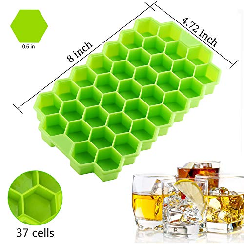 Ice Cube Trays with Lids, iReaydo 2-Pack Silicone Ice Cube Tray Easy-Release, Flexible, BPA Free and Stackable Ice Molds for Whiskey & Cocktail (Purple)