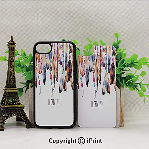 - iPhone 8 Case,iPhone 7 Case,Be-Creative-Quote-Watercolor-Print-Feathers-and-Beading-Boho-Style-Home-Decor,Lining Hard Shell Shockproof Full-Body Protective Case Cover