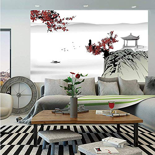SoSung Asian Decor Wall Mural,Asian River Scenery with Cherry Blossoms and Boat Cultural Hints Mystical View Artsy Work,Self-Adhesive Large Wallpaper for Home Decor 55x78 inches,Grey Red (Mystical Boat)