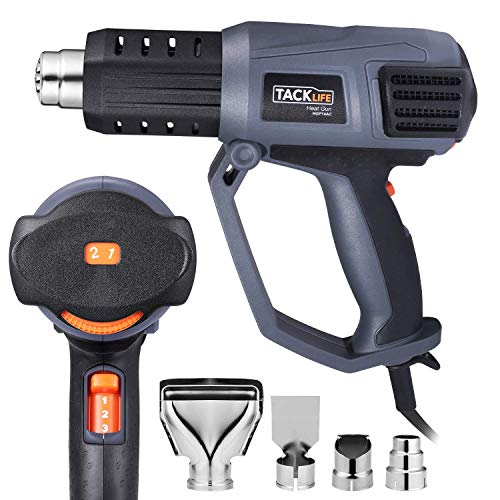 Heat Gun, Tacklife 1500W 158℉-1112℉(50℃ -600 ℃) Heavy Duty Hot Air Gun Kit Variable Temperature Control, 3 Air Flow rates and 4 Nozzles, with Overload Protection for Stripping Paint, Shrinking PVC