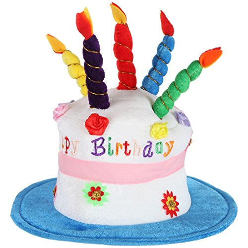 Home-X - Plush Happy Birthday Cake Hat, Celebrate in Style with the Perfect Birthday Hat for Men and Women of All Ages, Blue -