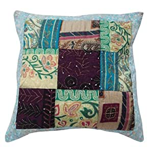 Home Décor Multicolor Cojín Kantha Vintage Patchwork Throw seda Arte Funda de almohada de regalo 24 pulgadas ""