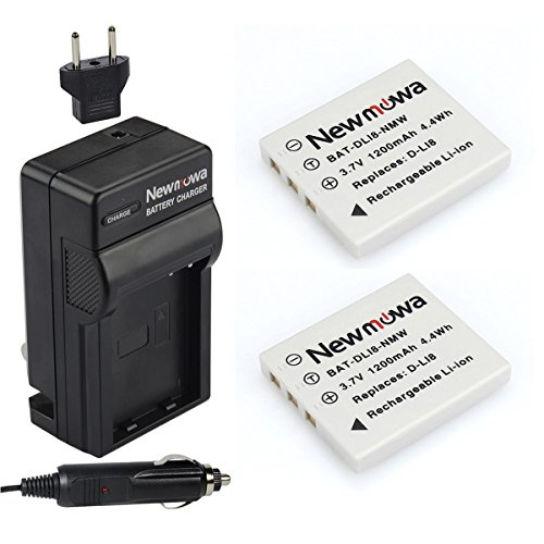 Newmowa D-Li8 Replacement Battery (2-Pack) and Charger kit for Pentax D-LI8, D-LI85, D-L18 and Pentax Optio A10, A20, A30, A36, A40, L20, S, S4, S4i, S5i, S5n, S5z, S6, S7,Same as Fuji NP-40 Battery ()