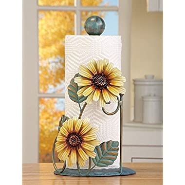 Country Sunflower Floral Kitchen Counter Top Paper Towel Roll Holder Stand