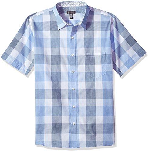 Van Heusen Men's Never Tuck Slim Fit Printed Short Sleeve Shirt, Deep Blue Ultra, 2X-Large