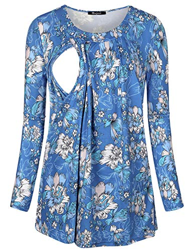 Quinee Nursing Tunic, Women Long Sleeve O Neck A line Scoop Neck Thin Floral Ruffled Elastic Cute Cotton Adorable Pull on Closure Maternity Nursing Tops Outfit for Brestfeeding Blue Floral M