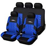 AUTOYOUTH Full Set Seat Covers for Cars Universal Fit Car Seat Protectors Tire Tracks Car Seat Accessories - 9PCS, Black/Blue