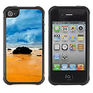 Pulsar Defender Series Tpu silicona Carcasa Funda Case para Apple iPhone 4 / iPhone 4S , Rocks on the beach