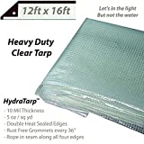 Heavy Duty Clear Greenhouse Tarp - 12ft x 16ft - Premium quality 10 mil with 3x3 Mesh weave for added strength - UV coated protection for outdoor camping RV Truck and trailers