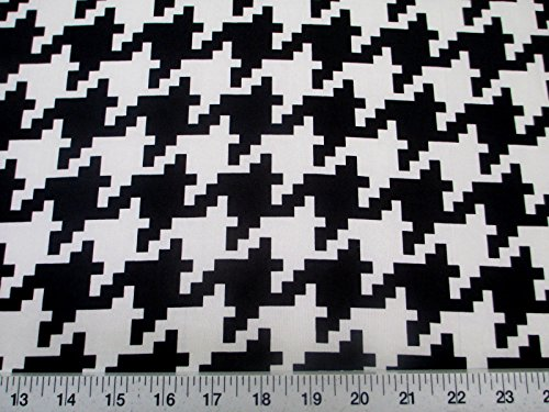 - Discount Fabric Printed Jersey Knit ITY Stretch Black White Large Hounds Tooth C401