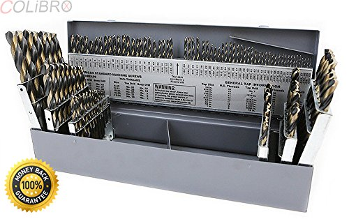 COLIBROX--115 PC PIECE METAL COBALT FRACTIONAL DRILL INDEX BIT SET KIT FOR STEEL COBALT. 15 cobalt drill bits comes organized in a metal indexed storage case for easy transport to your worksite. by COLIBROX