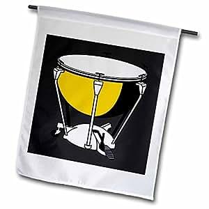 3dRose fl_44856_1 Yellow/White Drum on Black Garden Flag, 12 by 18-Inch