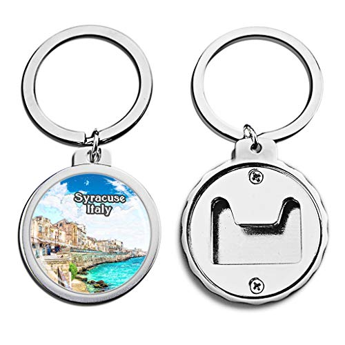 Italy Bottle Opener Keychain Syracuse Ortigia Mini Bottle Cap Opener Keychain Creative Crayon Drawing Crystal Stainless Steel Key Chain Travel Souvenirs