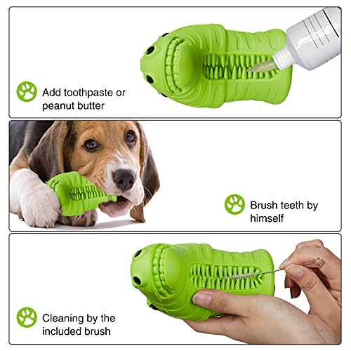 Dog Toys for Large Dogs Aggressive Chewers, Indestructible Natural Rubber Dog Chew Toys for Large/ Medium Breed, Squeaky Interactive Fun Toy with Zebra Shape, Tough Durable Toothbrush Toys