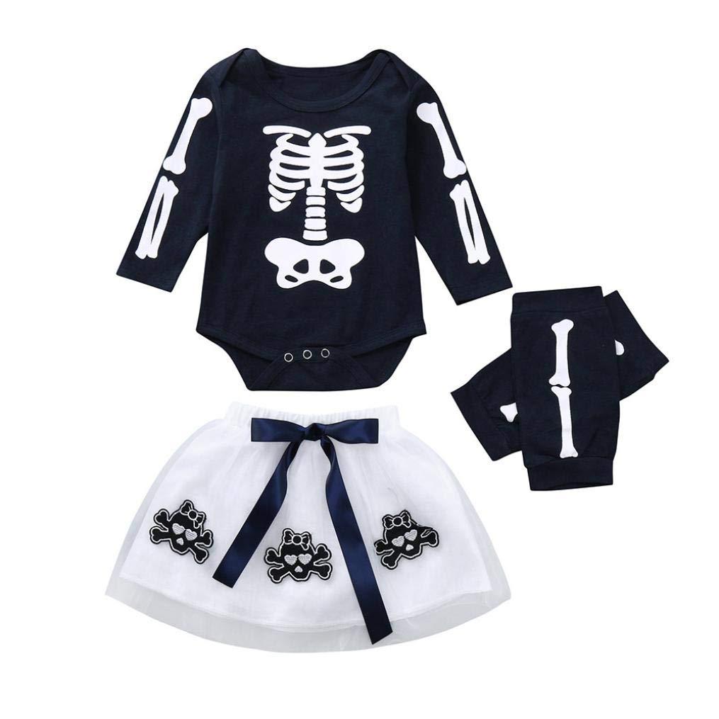 BYSTE Bodysuit baby, bambino Pagliaccetti Halloween Vestito da principessa, Manica Lunga Scheletro Top + SkullFilato netto vestito tutù gonna in tulle morbida +Leggings