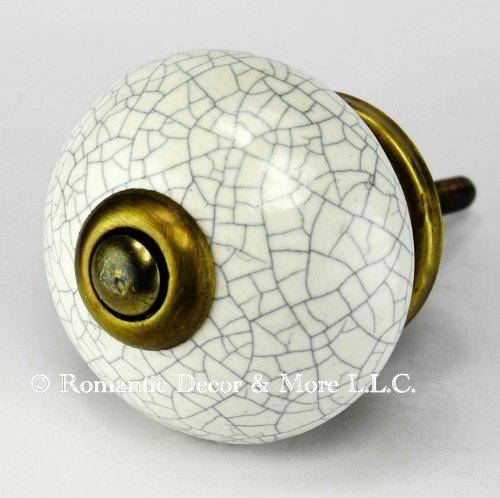 Romantic Decor C125M Retro White Crackle Stoneware Cabinet Knobs and Pulls with Antique Bronze Hardware - 1-1/2 in. Diameter- 8 pack (Antique White Crackle Porcelain)