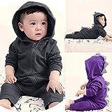 Hatoys Cute Toddler Baby Girls Boys Dinosaur Hoodie Romper Zip Clothes Jumpsuit