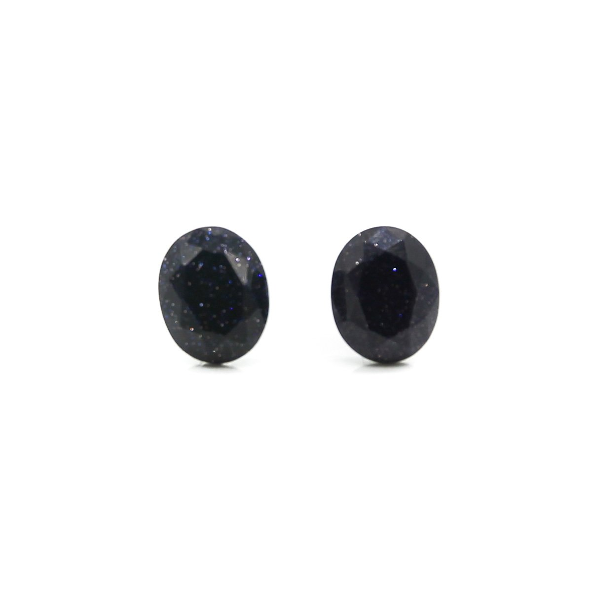 Faceted Oval Blue Goldstone Stud Hypoallergenic Post Earrings