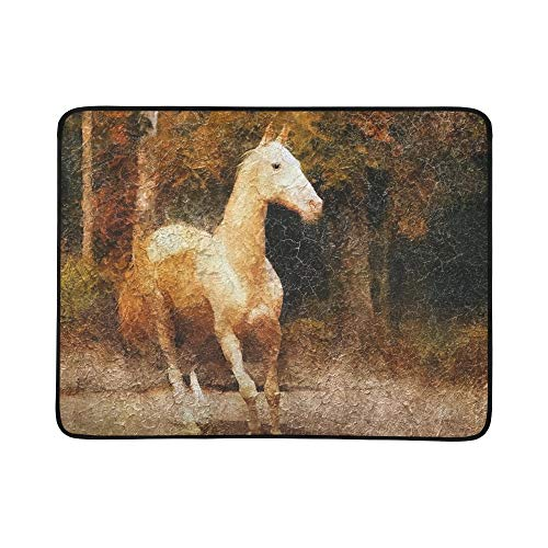 - GIRLOS Cremello Akhal Teke Horse Portrait Simulation Old Portable and Foldable Blanket Mat 60x78 Inch Handy Mat for Camping Picnic Beach Indoor Outdoor Travel