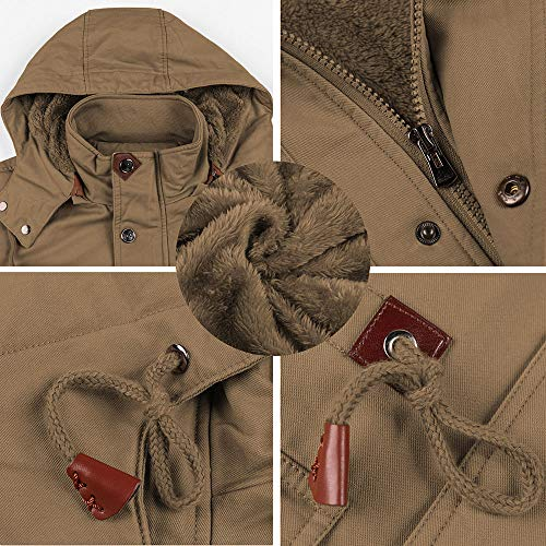 BIYLACLESEN Men's Winter Cotton Cargo Jackets 8 Pockets Windbreaker Fleece Lined Coat Stand Collar Work Jacket