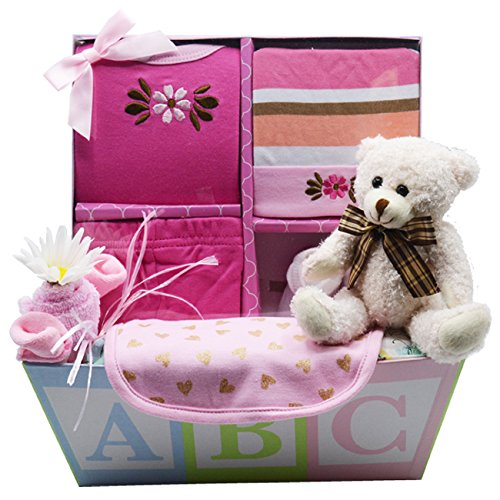 Sweet New Baby Gift Basket | Sweet Baby Boy & Sweet Baby Girl (Pink)