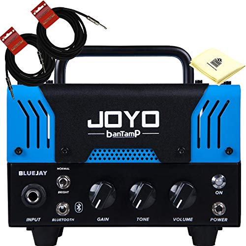 JOYO BlueJay Bantamp 20w Pre Amp Tube Hybrid Guitar Amp head Bundle with Built in Cab Speaker Amp Simulation and Bluetooth music playing with 2 Instrument Cable and Zorro Sounds -