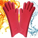 Kara Mona Extra Long Oven Gloves, Silicone Heat Resistant BBQ Grill Oven Mitts, Best Versatile Heat Resistant Grill Gloves for Cooking, Baking, Smoking & Potholder – 1 Pair (Red)