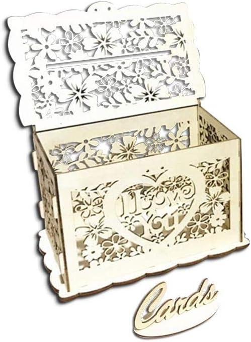 PQFYDS - Caja de Madera para Guardar Cartas con candado, diseño con Texto I Love You: Amazon.es: Hogar