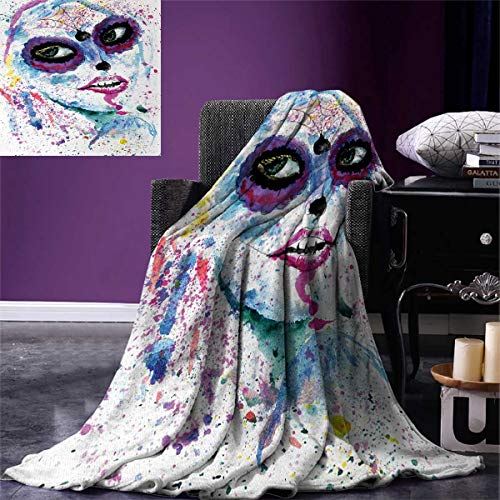 Girls Weave Pattern Extra Long Blanket Grunge Halloween Lady with Sugar Skull Make Up Creepy Dead Face Gothic Woman Artsy Custom Design Cozy Flannel Blanket 90