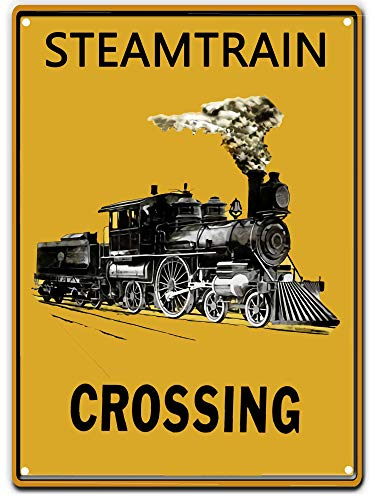 SIGNT Tin Signs Crosswalks Steam Train Crossing Sign Caution Yellow Caveat Street Road Decor New Wall Art Retro Vintage Bar Country Home Outdoor Yard 8X12Inch - Trains New Cross